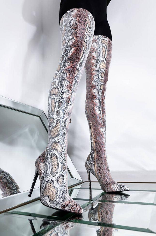 Front View Azalea Wang Got You Fomo Stiletto Boot In Snake in Snake