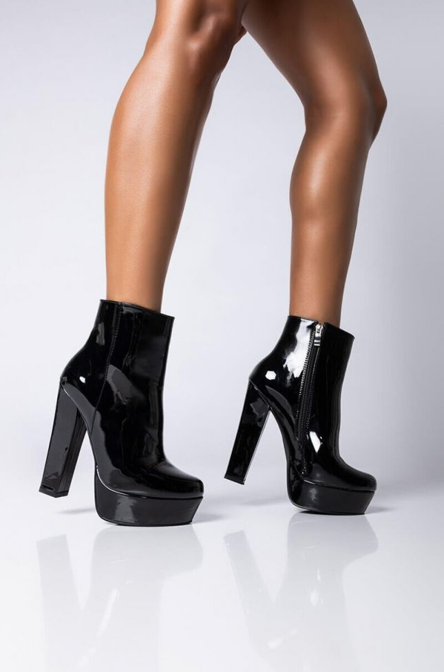 Front View Azalea Wang Gotta Have It My Way Heeled Bootie in Black Patent