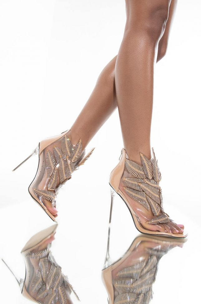AZALEA WANG GOTTA LET YOU KNOW STILETTO BOOTIE IN NUDE PATENT