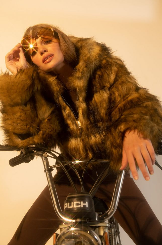 Front View Azalea Wang Gracelle Faux Fur Cropped Jacket