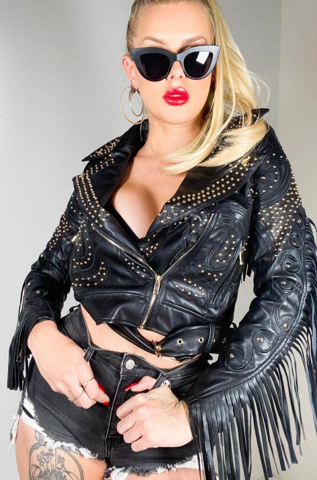 Azalea Wang Grand Ole Opry Western Fringe Back Moto Jacket in Black
