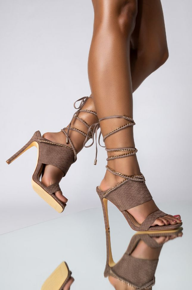 Front View Azalea Wang Here For The Long Run Stiletto Sandal In Taupe in Taupe