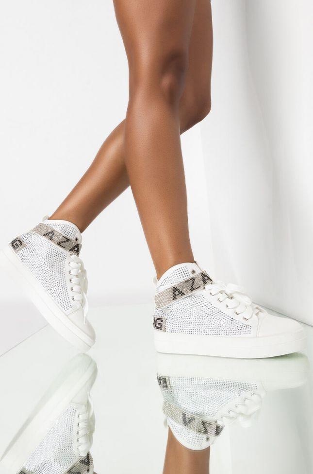 Front View Azalea Wang High Top Flat Diamond Sneaker In White in White