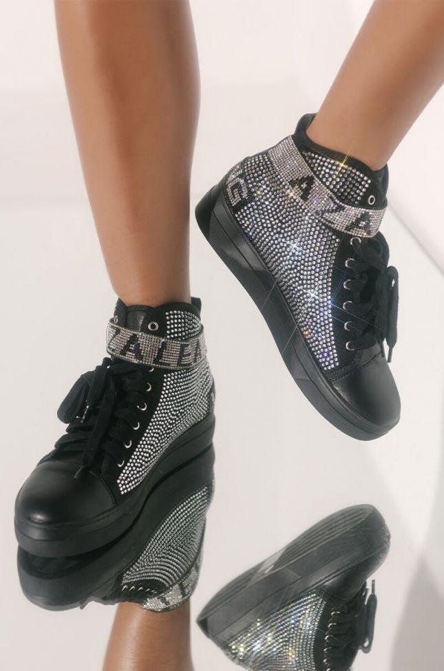 Front View Azalea Wang High Top Flat Diamond Sneaker in Diamonds