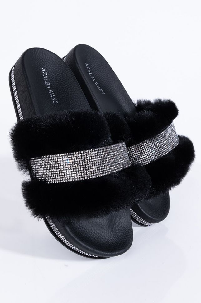 Front View Azalea Wang Hold Me Tonight Flat Sandal In Black in Black