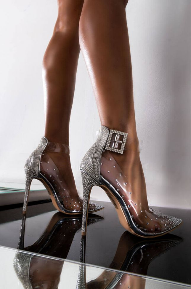 Front View Azalea Wang Holla At Me When You Are Ready Sexy Pump In Silver in Silver