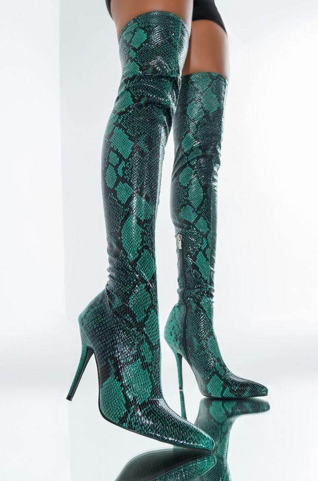 Front View Azalea Wang Hot Like Wasabi Stiletto Boot In Green