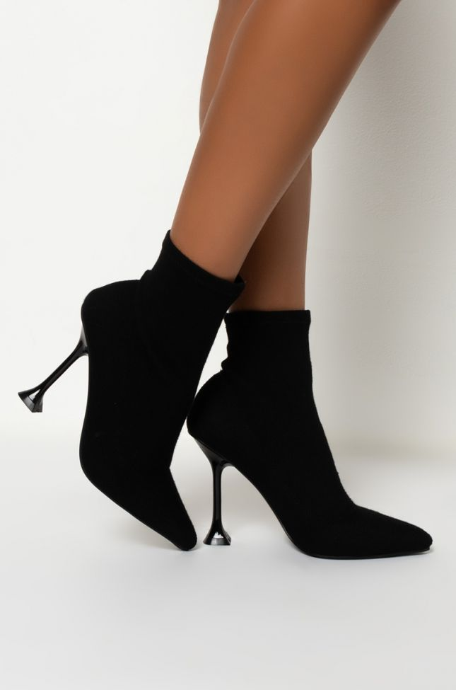 Back View Azalea Wang I Own This Street At Midnight Stiletto Bootie in Black Knit
