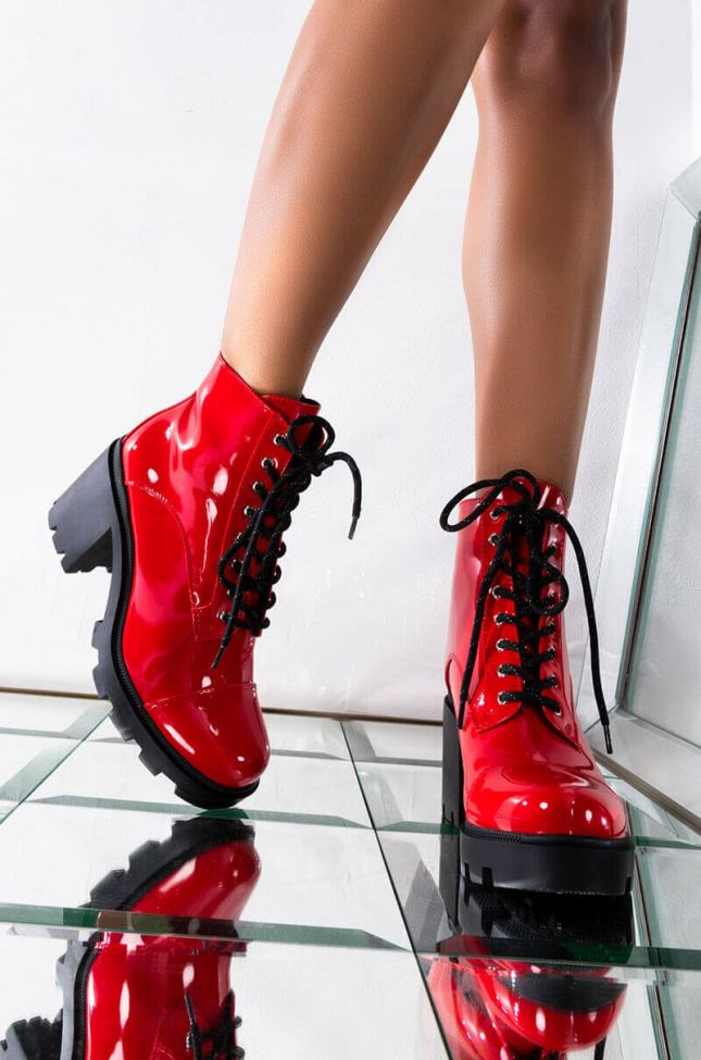 Front View Azalea Wang I Said What I Said Bootie In Red in Red