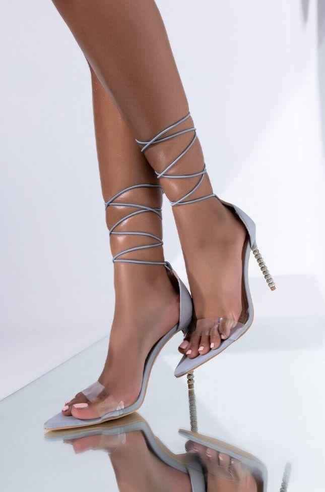 Front View Azalea Wang I Think I Love It Stiletto Sandal In Grey
