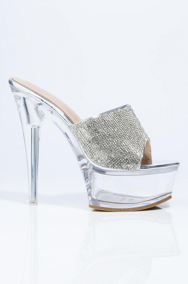 Side View Azalea Wang I Wanna Hear You Say It Stiletto Sandal In Silver in Silver