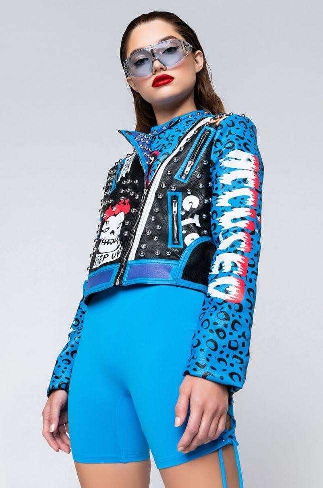 Front View Azalea Wang In A Blue World Moto Jacket in Blue