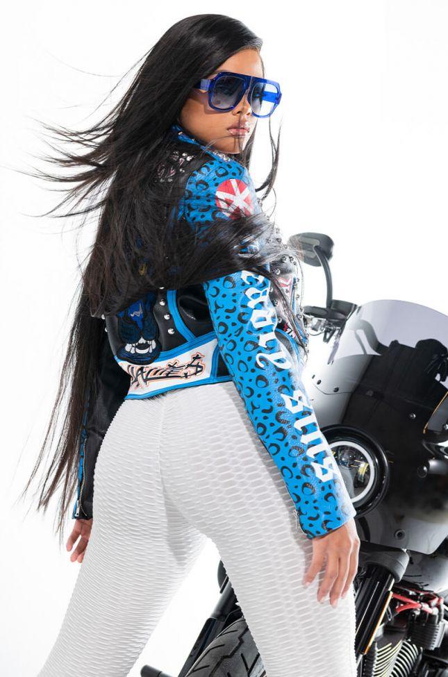 Extra View Azalea Wang In A Blue World Moto Jacket