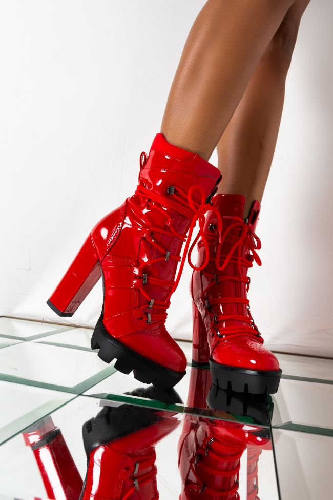 Front View Azalea Wang Is On The Money Move Bootie In Red in Red