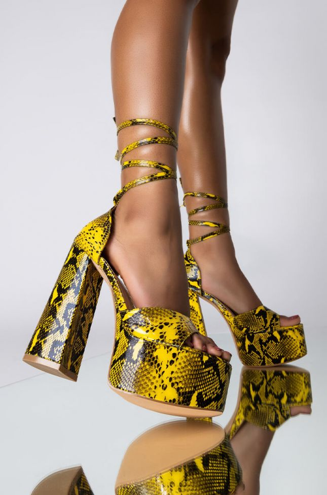 Front View Azalea Wang Its A Hot Girl Summer Chunky Heel Sandal In Yellow in Yellow