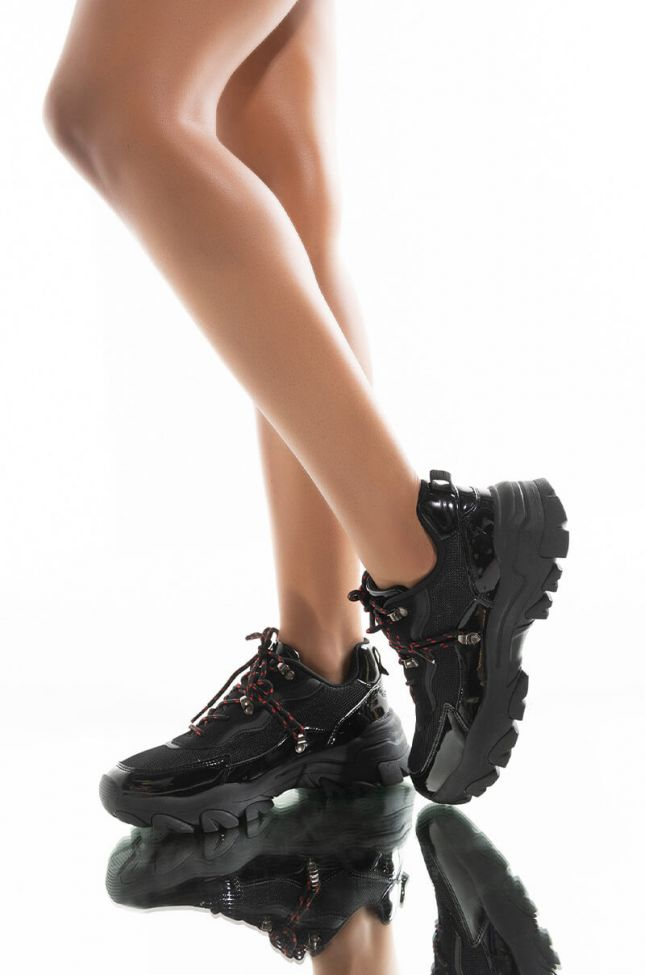 Front View Azalea Wang Its About Time Flat Sneaker In Black