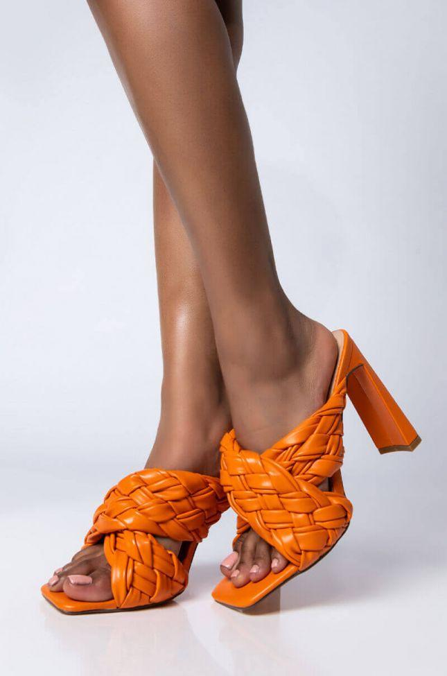 Front View Azalea Wang Its All Love Chunky Sandal In Orange in Orange