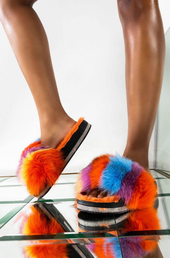 Front View Azalea Wang Its So Fluffy Ima Die Fur Slides in Orange