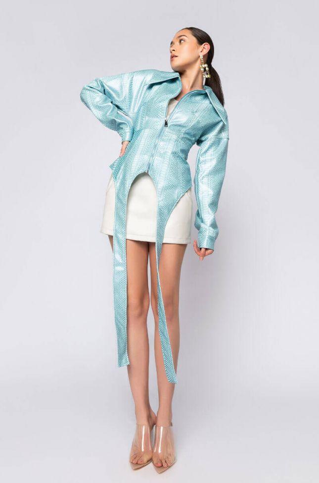 Azalea Wang Jorja Croc Corset Jacket in Light Blue