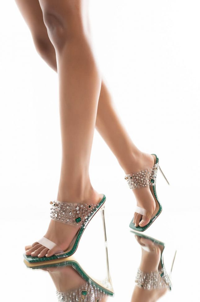 Front View Azalea Wang Just A Dream Stiletto Sandal In Green