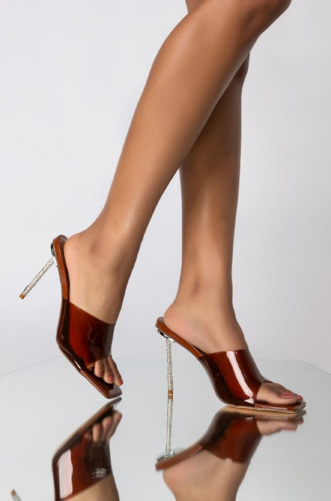 Front View Azalea Wang Just A Feeling Stiletto Sandal In Brown in Caramel