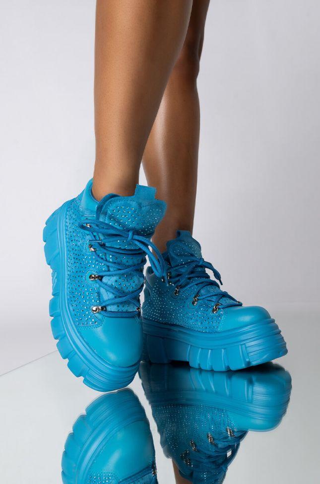 Front View Azalea Wang Keep You Off My Mind Flatform Sneaker In Baby Blue in Light Blue