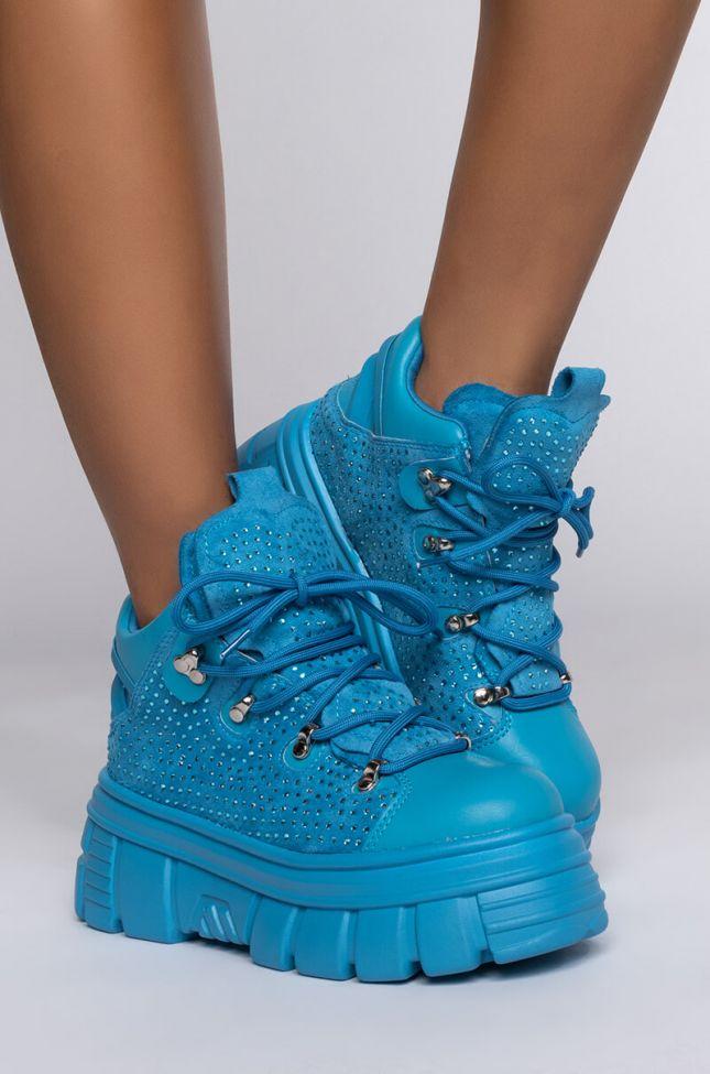 Side View Azalea Wang Keep You Off My Mind Flatform Sneaker In Baby Blue in Light Blue