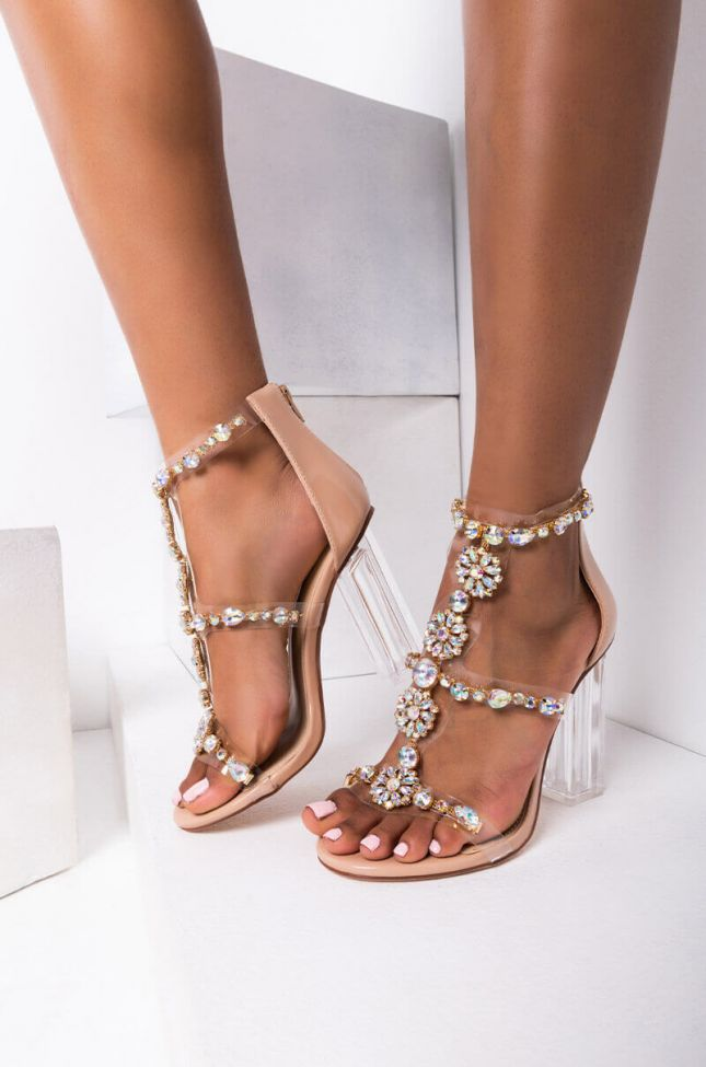 Front View Azalea Wang Keeping It Real Chunky Heel Sandal In Nude Patent in Nude Patent