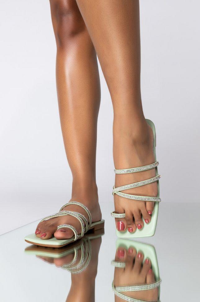 Front View Azalea Wang Last To Leave Rhinestone Flat Sandal In Mint in Mint