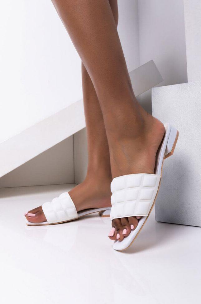 Front View Azalea Wang Layin Low Flat Sandal In White in White