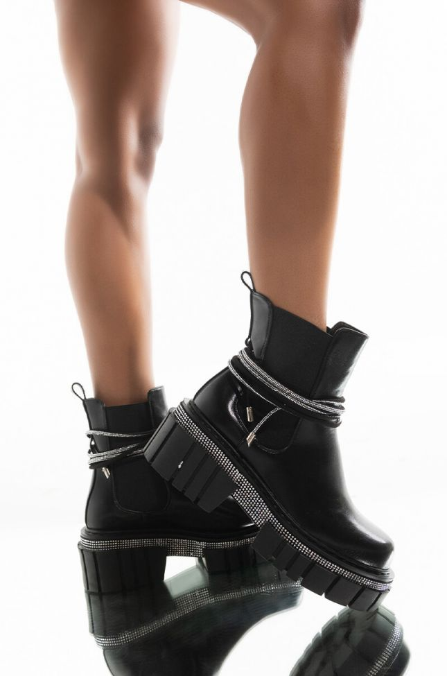 Front View Azalea Wang Left You In A Second Flatform Bootie In Black