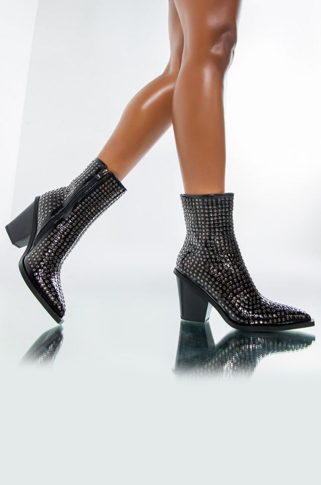 Front View Azalea Wang Left You On Read Studded Western Bootie
