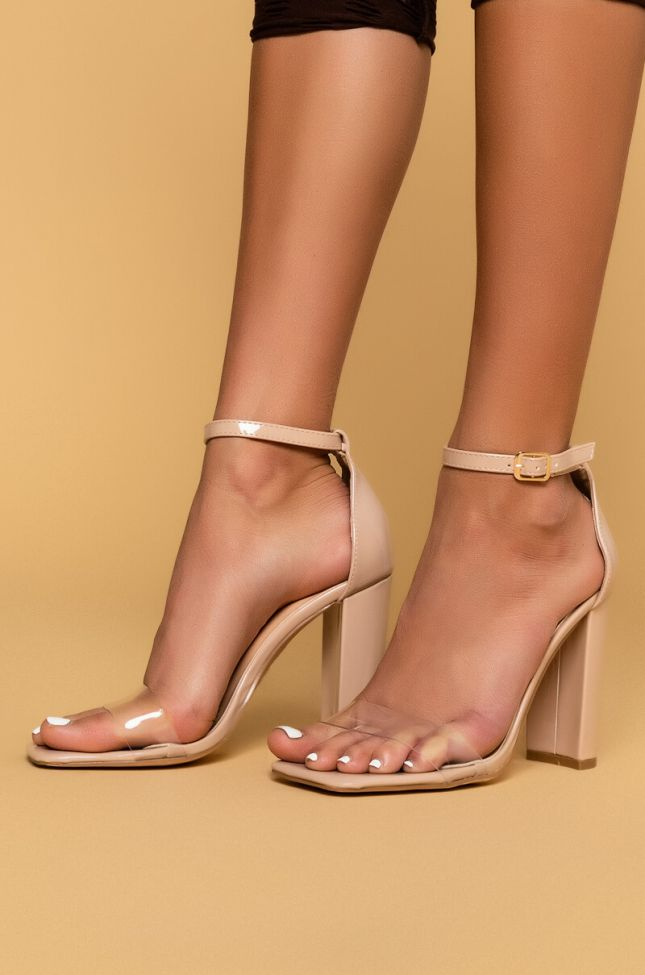 Side View Azalea Wang Lets Get Down To Business Sandal In Nude Patent in Nude Patent