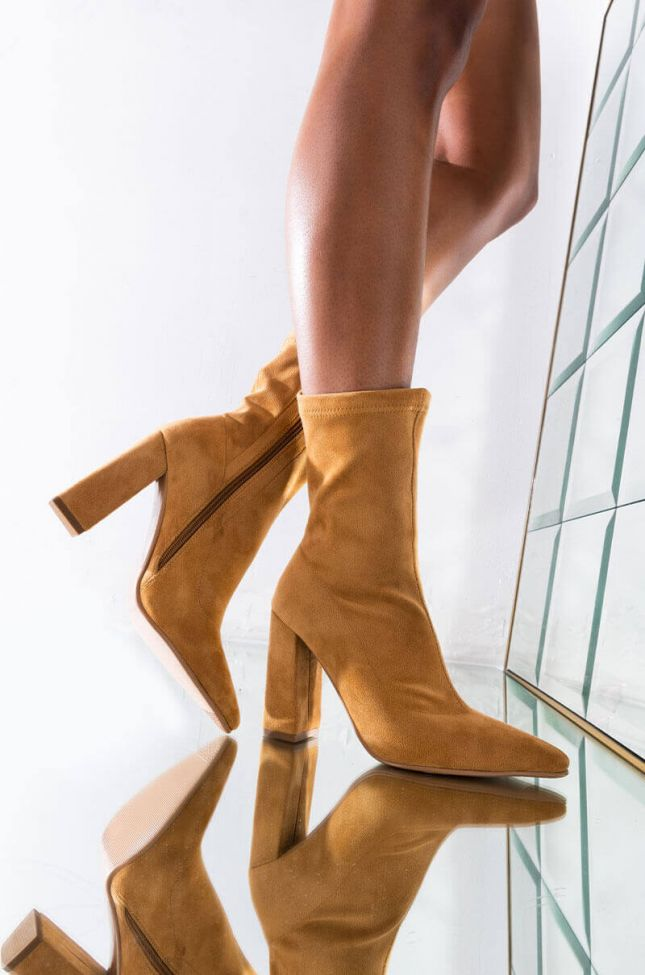 Front View Azalea Wang Lets Go Dance Chunky Heel Mid Calf Bootie In Taupe in Taupe