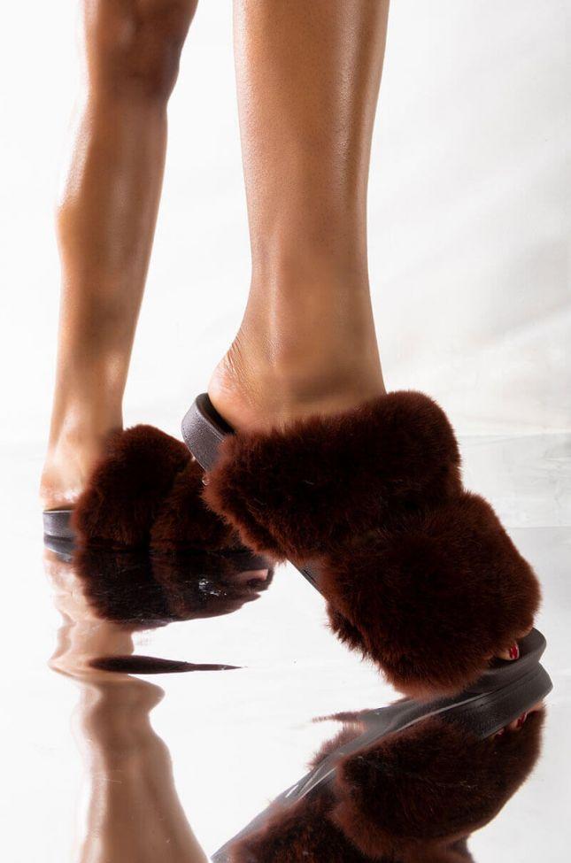 Front View Azalea Wang Lets Stay In Flat Sandal In Brown in Brown