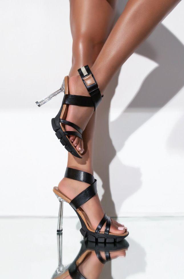 Front View Azalea Wang Lights Down Low Stiletto Sandal In Black