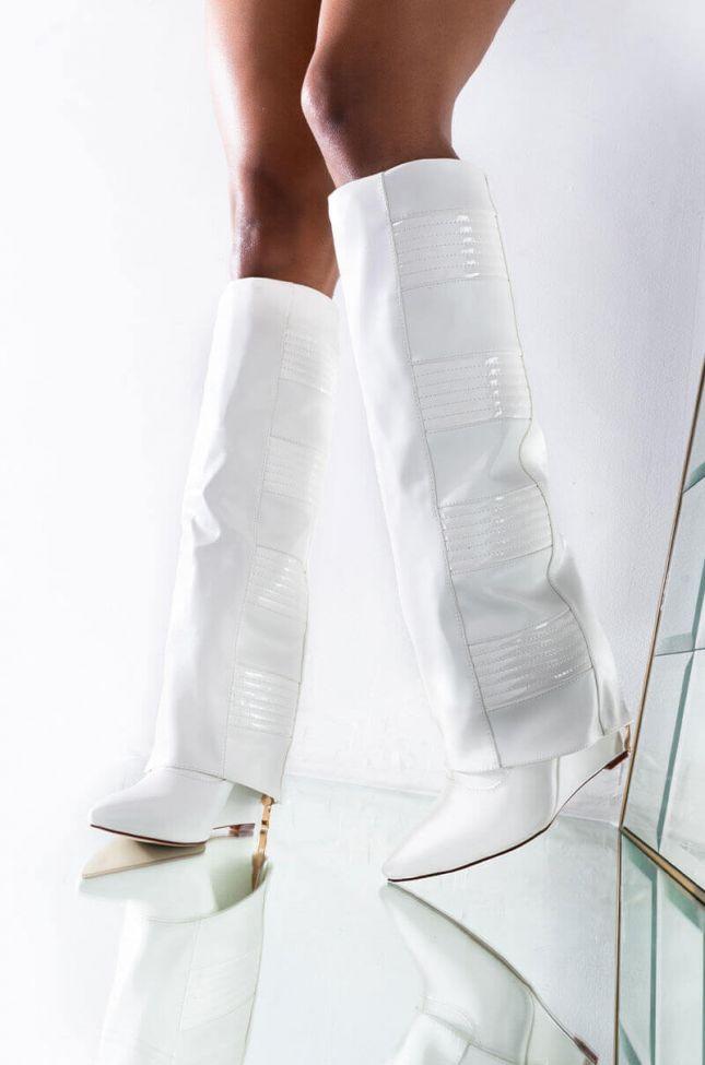 Front View Azalea Wang Like Rain In The Sun Wedge Boot In White in White