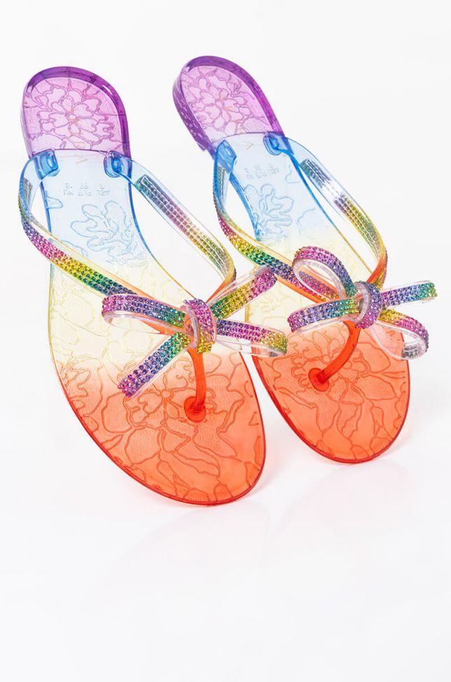 Full View Azalea Wang Livin Never Felt So Good Flat Sandal In Rainbow in Rainbow
