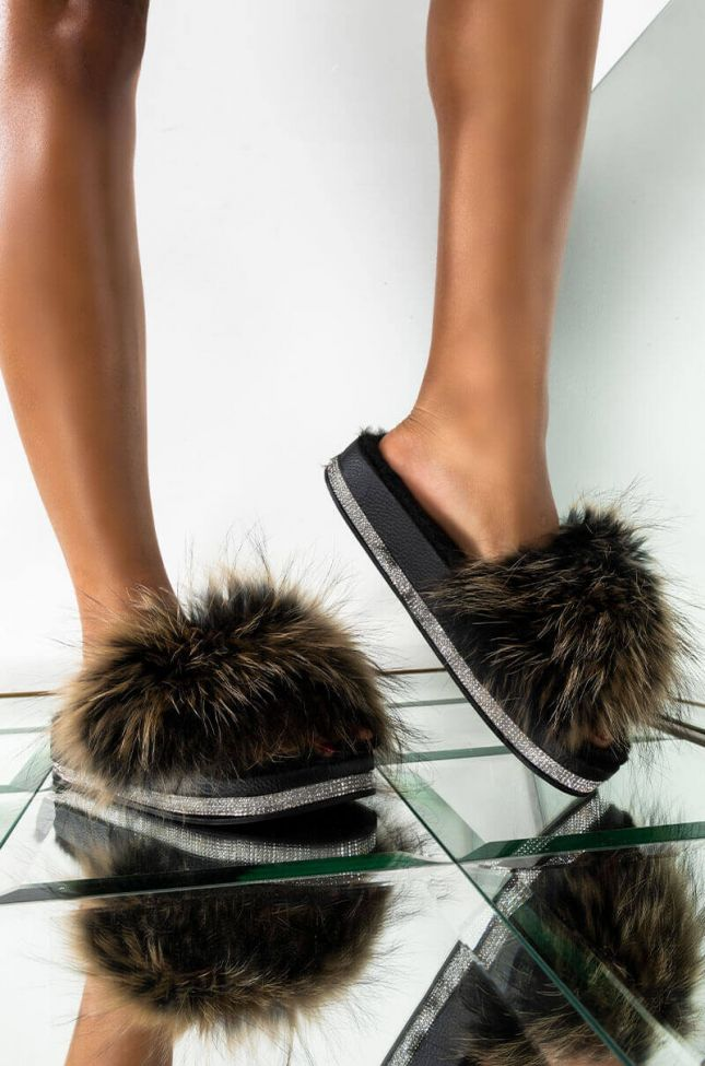 Front View Azalea Wang Looking Rich In These Fur Slides in Brown