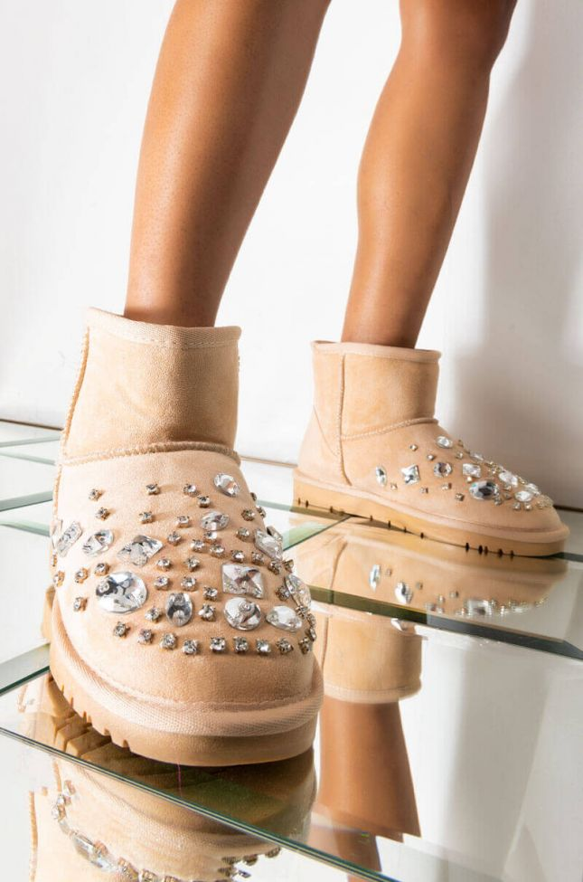 Front View Azalea Wang Lost In Your Eyes Flat Bootie In Taupe in Taupe