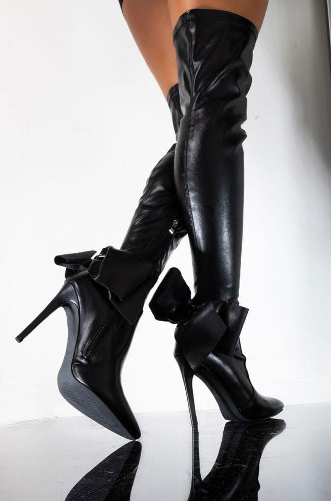 Front View Azalea Wang Make Them Drop Dead Stiletto Boot In Black in Black Pu