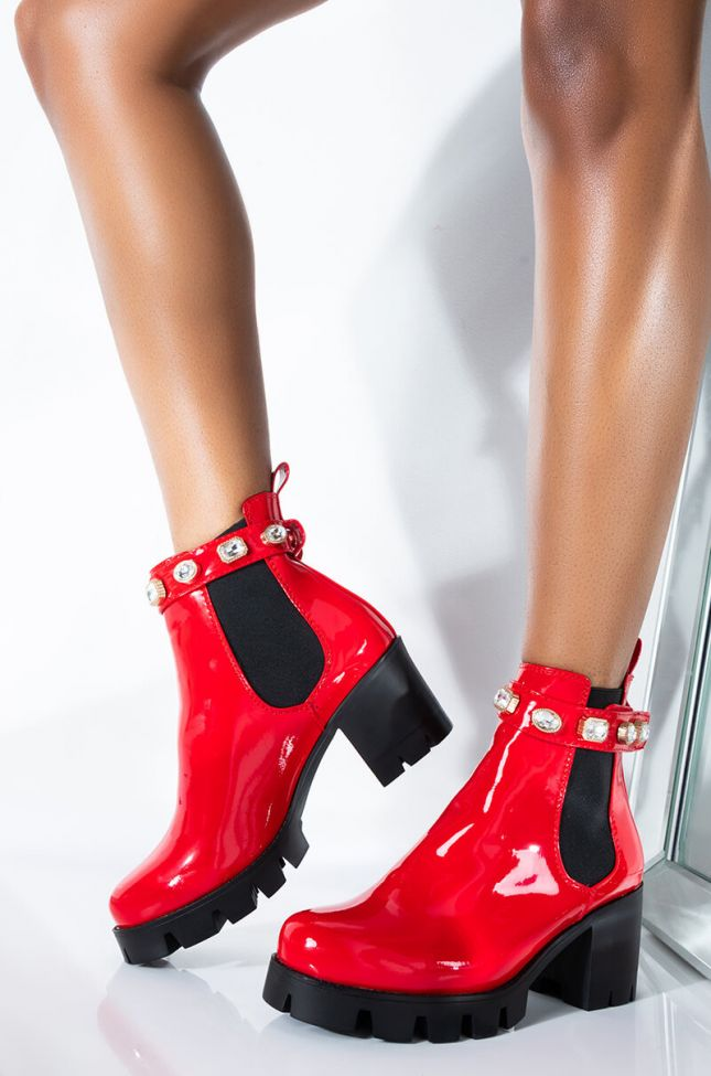 Front View Azalea Wang Make You Keep Coming Back For Me Chunky Heel Bootie in Red Patent