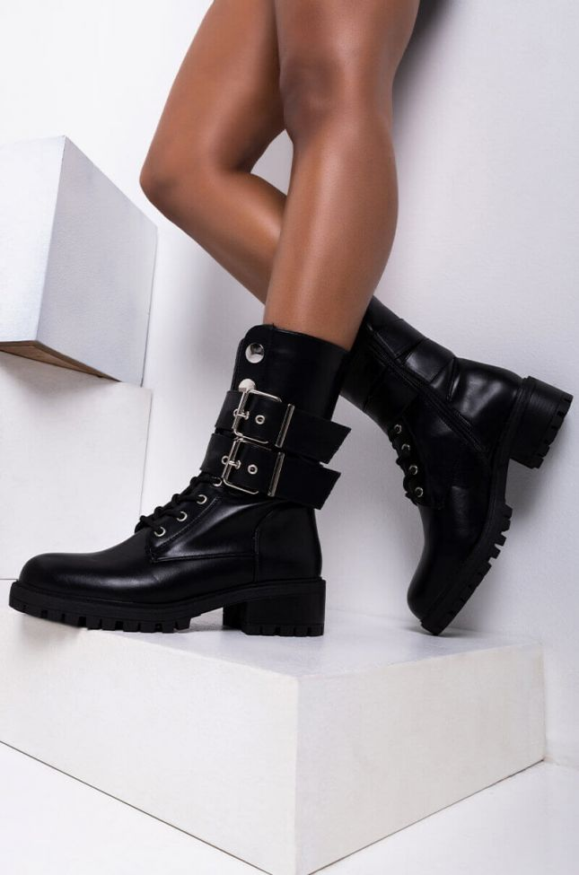 Front View Azalea Wang Miss Independent Flat Bootie In Black in Black