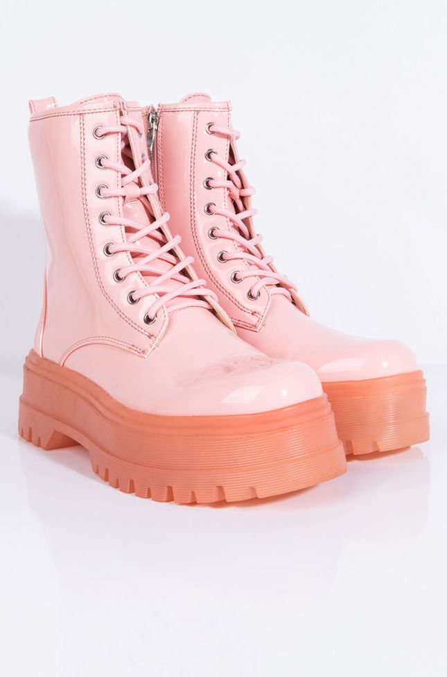 Front View Azalea Wang Mixed Signals Flatform Bootie In Pink in Pink
