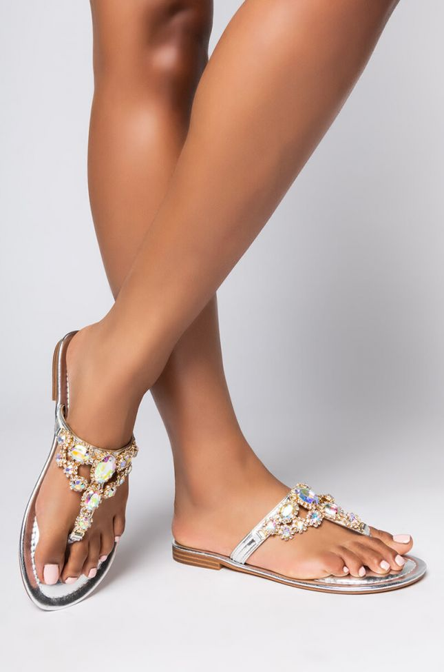 Front View Azalea Wang My Heart Will Not Rest Until I Get You Sandal in Silver