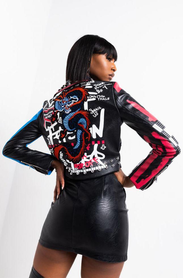 Full View Azalea Wang Nakita Dragon Patch Grafiti Moto Jacket in Red Multi