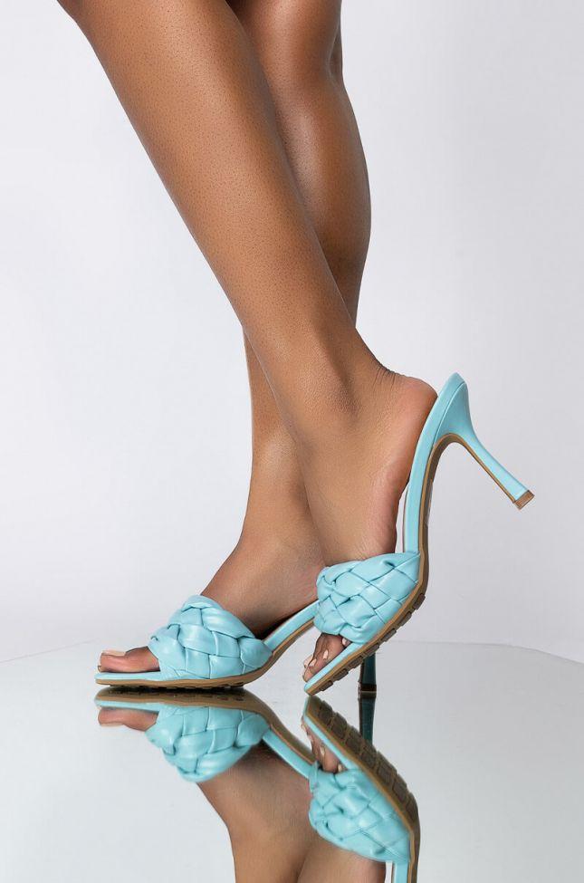 Front View Azalea Wang Need Your Lovin Stiletto Sandal In Blue in Blue
