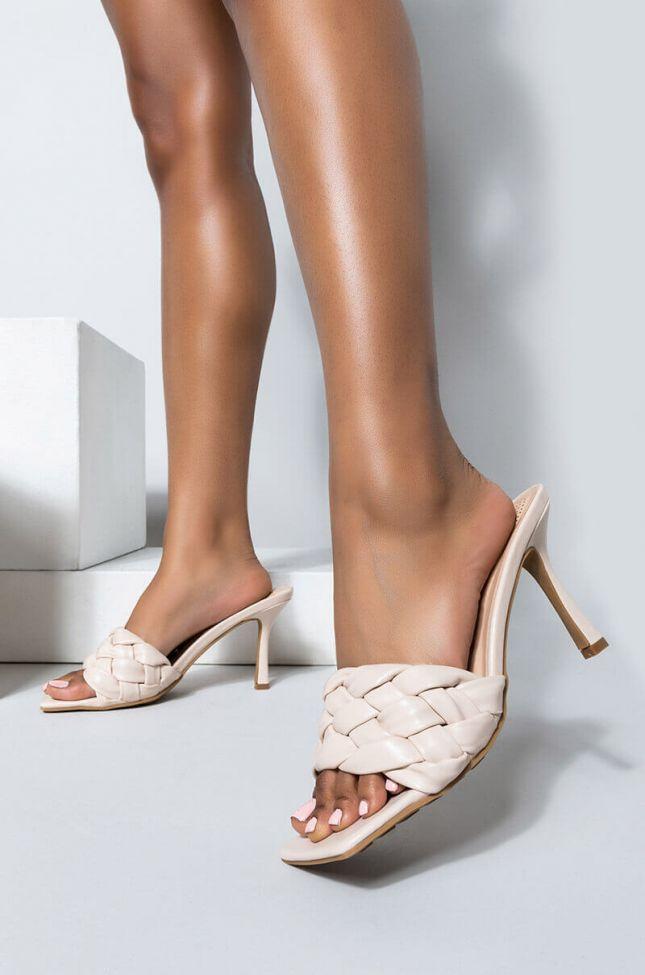 Front View Azalea Wang Need Your Lovin Stiletto Sandal In Bone in Bone