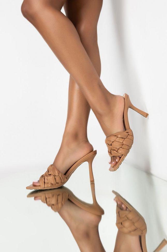 Front View Azalea Wang Need Your Lovin Stiletto Sandal In Dark Nude in Dark Nude
