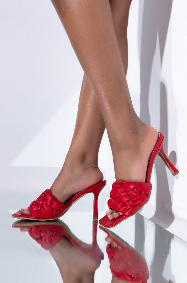 Front View Azalea Wang Need Your Lovin Stiletto Sandal In Red